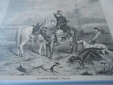 Gravure 1858 - La couvée Manquée chasse chiens lièvre
