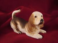 """HOUND Dog Figurine BLOODHOUND Ceramic Bisque Brown on Creme 2 3/4"""" T   #HD5"""