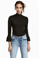 H & M Small Ruffled Flared Peasant Top Sweater Women's Long Sleeve Blouse Black