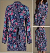 NEW Ex M&S Blue & Pink Peruvian Floral Tassel Wrap Dressing Gown with Belt 8 -22