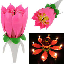 New Romantic Musical Lotus Flower Happy Birthday Party Cake Candle Lights Gift