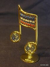 Patriotic Music Notes ~ 24kt Gold Plated ~ w/ Beautiful Austrian Crystals