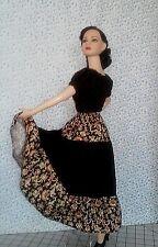 """Handmade Black gardens for 22"""" Tonner basic model doll peasant blouse and skirt"""