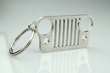 1x Stainless Steel Jeep Bumper Grill Shape Key Chain Key Ring For CJ JK TJ YJ XJ