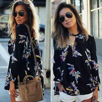 Fashion Women Ladies Casual Long Sleeve Blouse Summer Floral Shirt Tops T-shirt