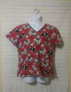 Women's Disney Red Mickey Minnie Scrub Top, Size L