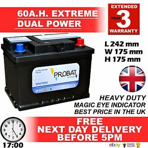 60 ah amp Battery DUAL POWERow Height maintenance free sealed 80 85 L