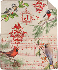 Christmas Holiday Birds ~ Bird Notes Cardinals Chickadees Quilted Cotton Throw