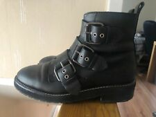Black Chunky Boots With Buckle Size 7