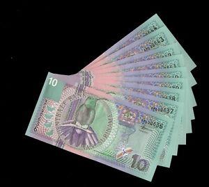 LOT 9 PCS SURINAME 10 GULDEN 01.01.2000 P-147 BANKNOTES AU/UNC