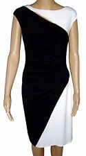 Ralph Lauren Essentials Dress Size 4 Black & White Asymmetrical Back NWT $139