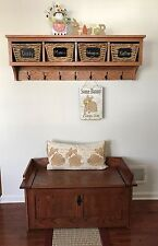 """4 Cubby Oak Coat Rack Wall Hanging 48"""" Wide"""