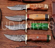 LOT OF 4 | 6 INCH CUSTOM DAMASCUS STEEL  HUNTING KNIFE |WOOD HANDLE B8-11677