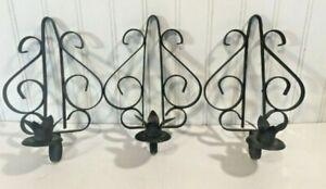 3 Spanish Gothic Wall Sconces Black Wrought Iron Hanging Candle Holders Vtg