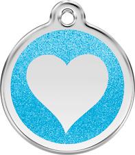 médaille acier gravée chien chat red dingo coeur paillettes 7 couleurs 3 tailles