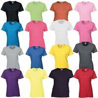 GILDAN Womens Short Sleeve Plain Heavy Cotton Ladies T Shirt Top Smart Casual T