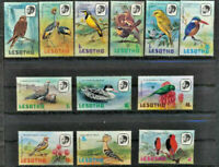 BIRDS 12 Different Mint NH Multi color Lesotho topical stamp set  $10.55 Value