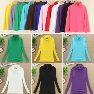 Ladies Women Warm Basic Long Sleeve Plain Top Turtleneck Cotton High Neck