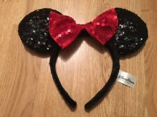 Disney World MINNIE MOUSE HEADBAND Halloween Costume RED GLITTER BOW Souvenir
