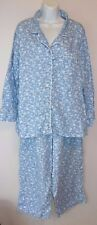 "*CHARTER CLUB*Flannel Pajamas*Plus Size 1X*Blue/White Floral*Satin Trim*28"" ins"