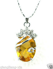 new Solitaire yellow Silver Crystal Pendant With Necklace