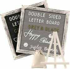 Tukuos Felt Letter Board with Rustic Stand, 10x10 Inch Weathered Antique Frame,