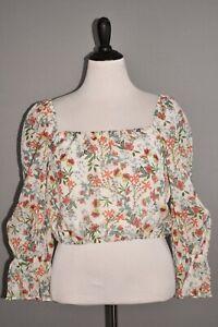 ALICE & OLIVIA NEW $295 Debra Floral Print Silk Blend Crop Top Large