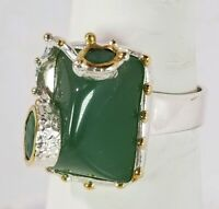 Ladies handmade 12ct Natural Chrysoprase 925 Sterling Silver Ring Size 8