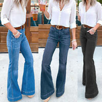 Womens Denim High Waist Trousers Bell-bottom Flared Pants Loose Boot Cut Jeans
