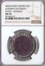 2005 AUSTRIA BIMETAL SILVER/NIOBIUM €25 FIFTY 50 YEARS OF TELEVISION NGC MS 70