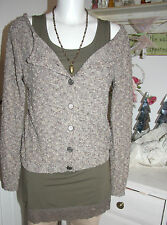 Cream DK Strickjacke Cardigan Turnable Pullover Lurex Langarm size: XS Neu