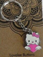 Hello Kitty Enamel Silver Key Ring