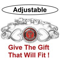 Texas Tech Red Raiders Womens Silver Adjust Heart Link Bracelet w Gift Pkg D27