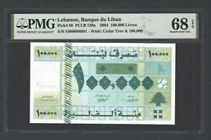 Lebanon 100000 Lira 22-1-2004 P89 NE060088991 Uncirculated Grade 68 Top Pop