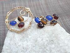 Vtg 1/20 12k Gold Filled Scarab Beattle Pin/Brooch Screwback Earrings Tigers Eye