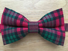 Bow Tie | Metallic Red & Green Tartan Bow Tie | Shiny Sparkly Bow Tie