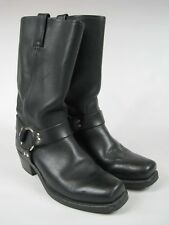 FRYE 77300 Women's Harness Pull On Square Toe Boots Black Leather Sz 10M