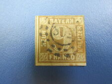 New listing German Stamps, (R9-24) 1850 Baveria Bayern 9K (Franco )brown imperf. Used Ng Lh