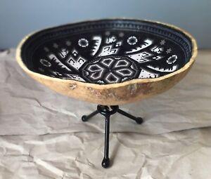 Beaded Jicara Decorative Plate With Metal Base