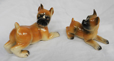Pair of Vintage / Antique Dutch Porcelain Boxer Dog Figures