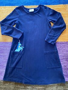 Hanna Andersson Long Sleeve Pocket Unicorn Dress Navy Blue 120 US 6-7