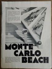 1932 Monte Carlo Beach Hotel tropical vacation travel Bureau vintage ad