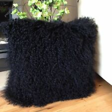 "Handmade Mongolian Fur 16""x16"" Square Black Pillow Cushion 40x40cm & Fabric Back"
