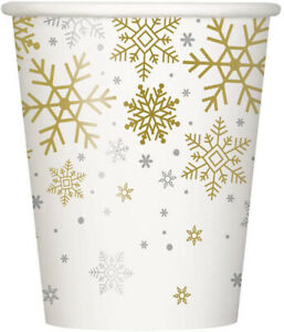 8 x Gold & Silver Snowflakes Christmas Paper Party Cups