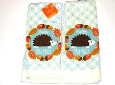 Woodland Critter Hedgehog Kitchen Towels Set of 2 Autumn Fall Leaves Acorns A