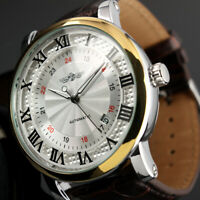 Mens Watch Automatic Brown Faux Leather Band Self Winding Roman Numberals Design