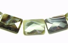 5 HUGE NATURAL Botswana Agate FACETED Flat Rectangle Beads 22x30mm K1009
