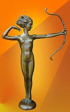 BRONZE STATUE SIGNED DIANA NAKED ART  HOT CAST SCULPTURE GIRL FIGURE FIGURINE