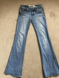 VTG Y2K JANE NORMAN Multi Blue Faded Stretchy Low Rise Bootcut Jeans size 8