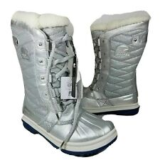 SOREL Women boots Tofino Frozen 2 silver winter lace up leather fabric 7 38
